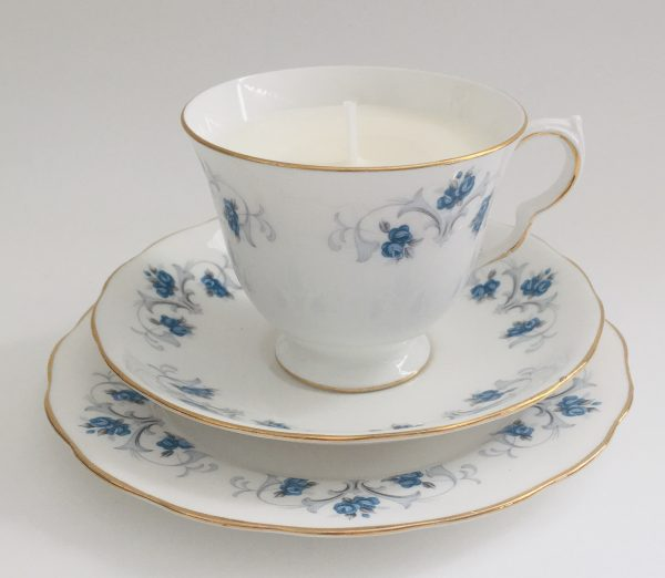 Teacup Candle - Blue Floral Crown Royal Fine China