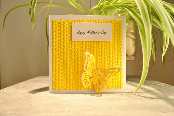 yellow mothers day card with butterfly