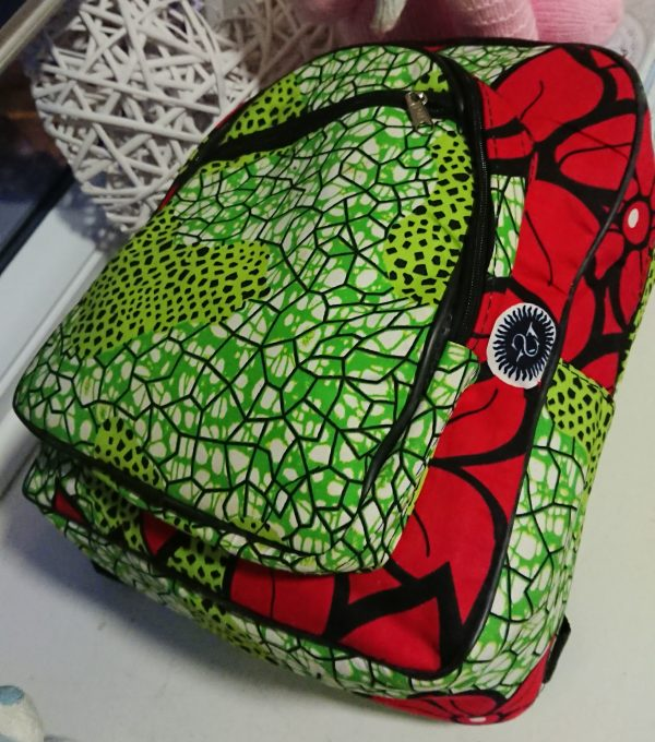 African Print Green and Red Backpack