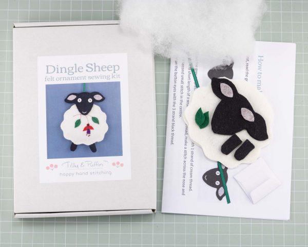 Dingle Sheep Felt Ornament Sewing Kit - Dingle sheep kit box and contents