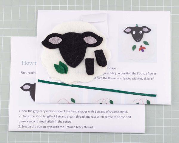 Dingle Sheep Felt Ornament Sewing Kit - Dingle sheep kit contents