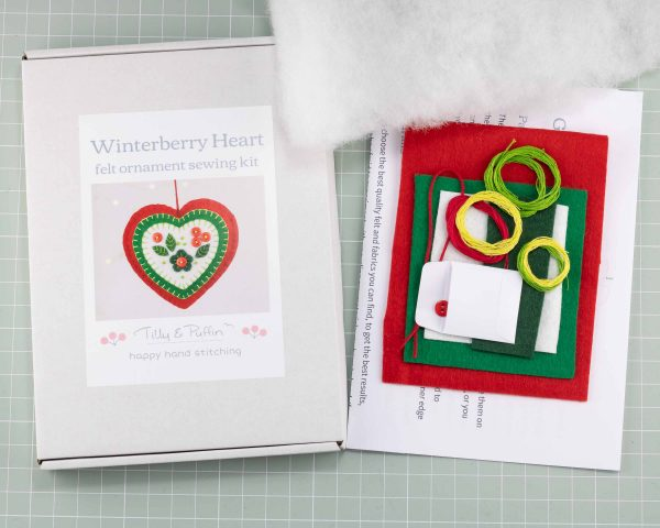 Felt Heart Ornament Sewing Kit - Heart kit box and contents