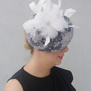 Jodie: Black and White Fascinator