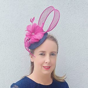 Lily: Navy and Pink Fascinator
