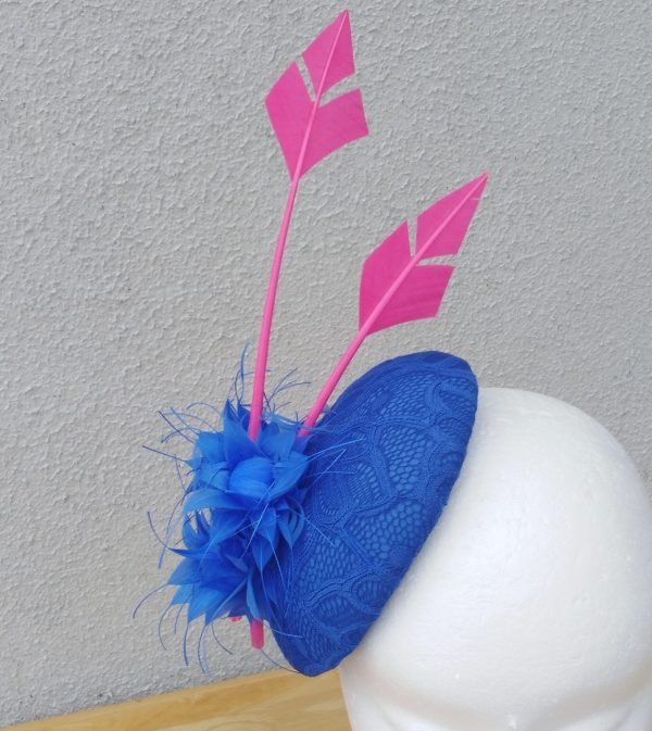 Katie: Royal Blue and Pink Button Fascinator
