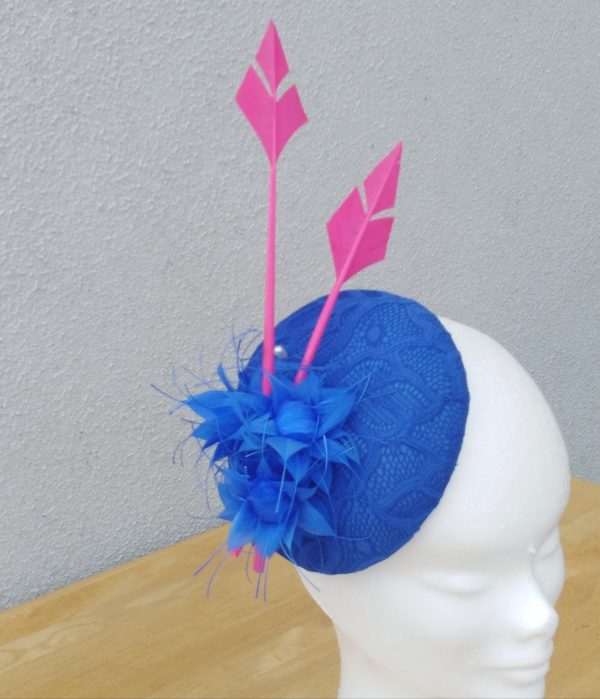 Katie: Royal Blue and Pink Button Fascinator - IMG 20200908 163525