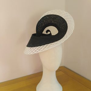 Celine: Black and White Freeform Fascinator