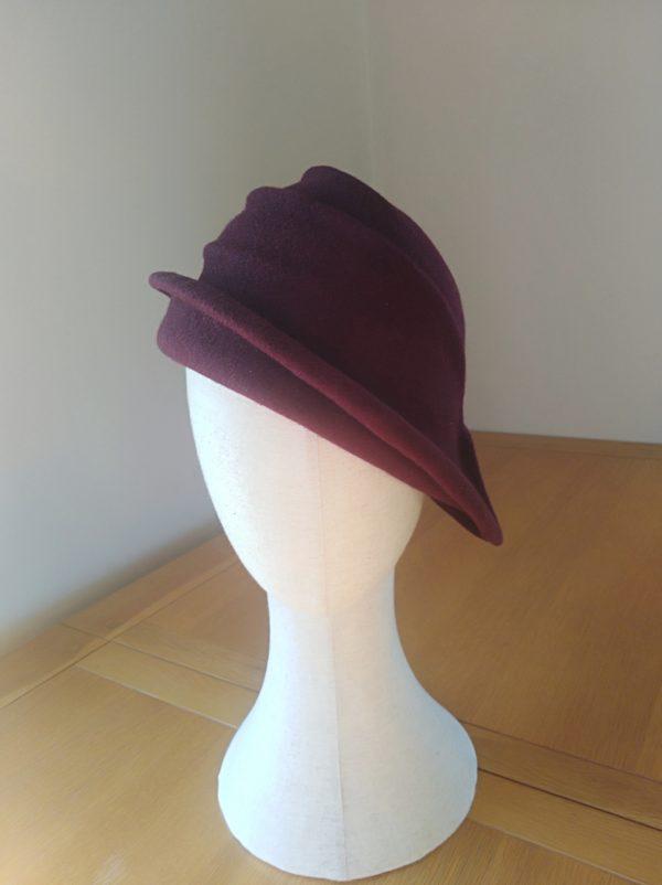 Lola: Wine Freeform Felt Hat