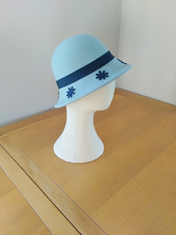 Jojo: Pale Blue and Navy Cloche Hat