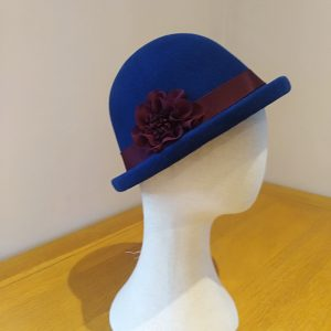Alison: Blue and Wine Bowler Hat