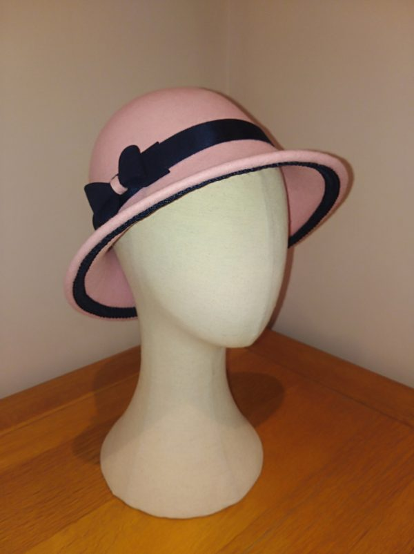 Rose: Pink and Navy Cloche Hat