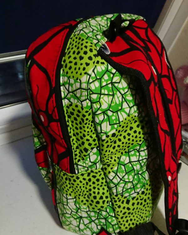 African Print Green and Red Backpack - IMG 20210202 181139 885