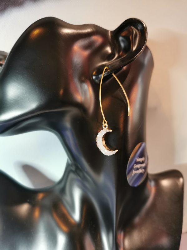 White Crescent Moon Gold Earrings