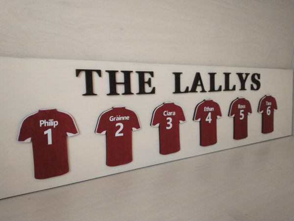 Personalised Football Jersey Family Plaque