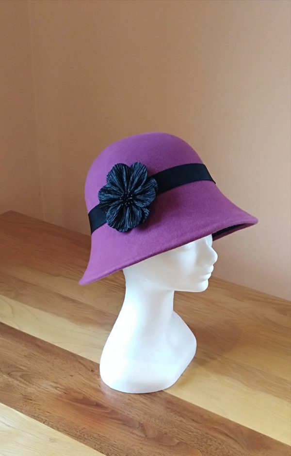 Belle: Plum and Black Cloche Hat