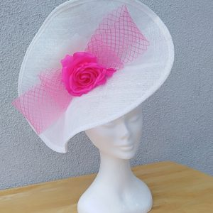 Carrie: White and Pink Fascinator