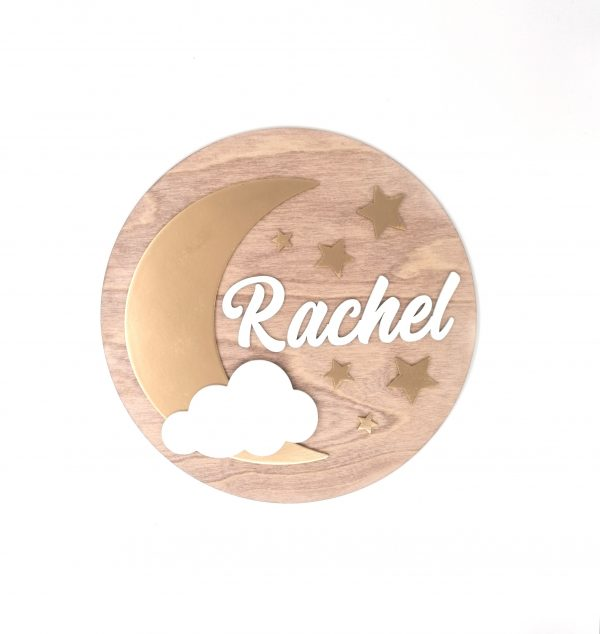 Gold Moon Children's Name Wall Sign