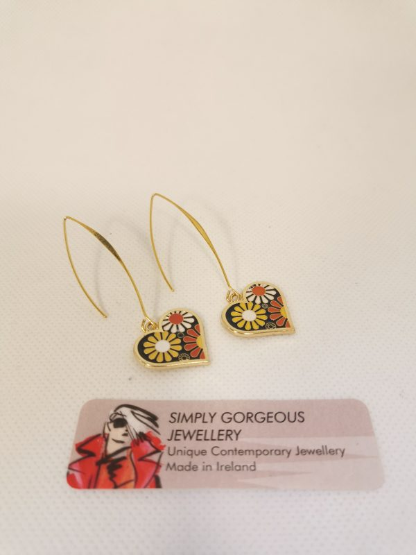 Love Heart Retro Flower Earrings