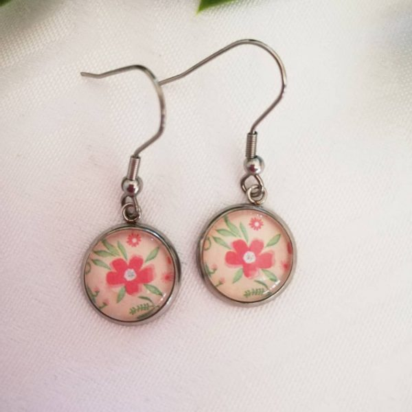 Dome Earrings - Floral
