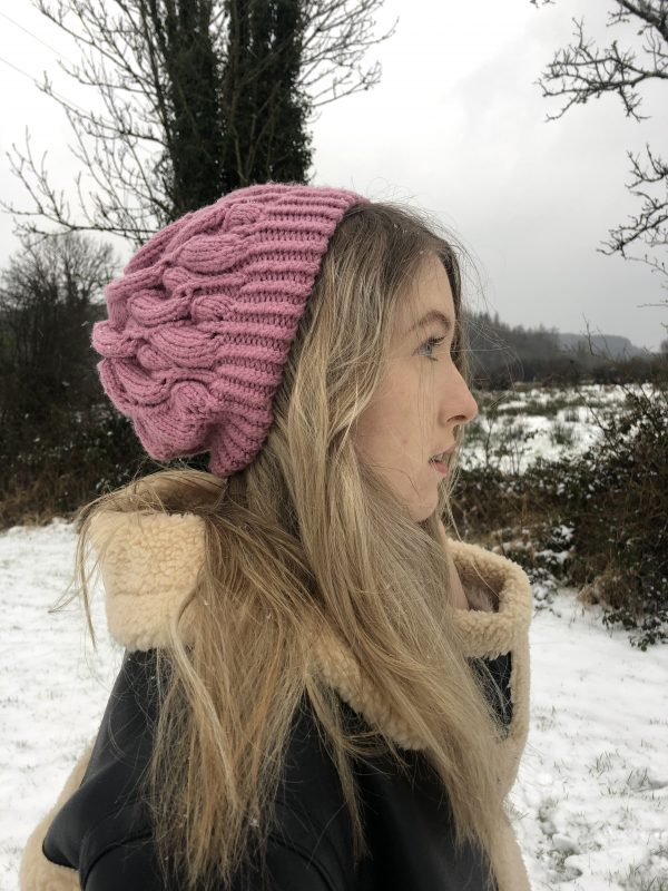 Women's Pink Beanie Hat - IMG 2836 rotated