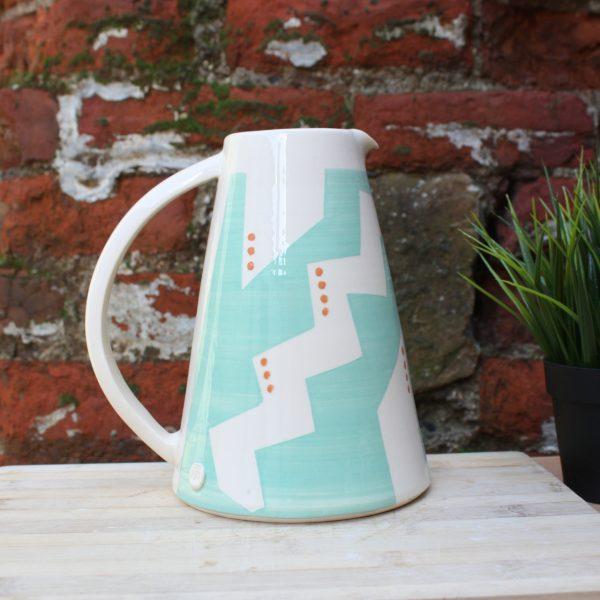 Large turquoise handmade jug