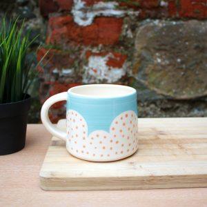 Polka dot Malibu blue and orange mug