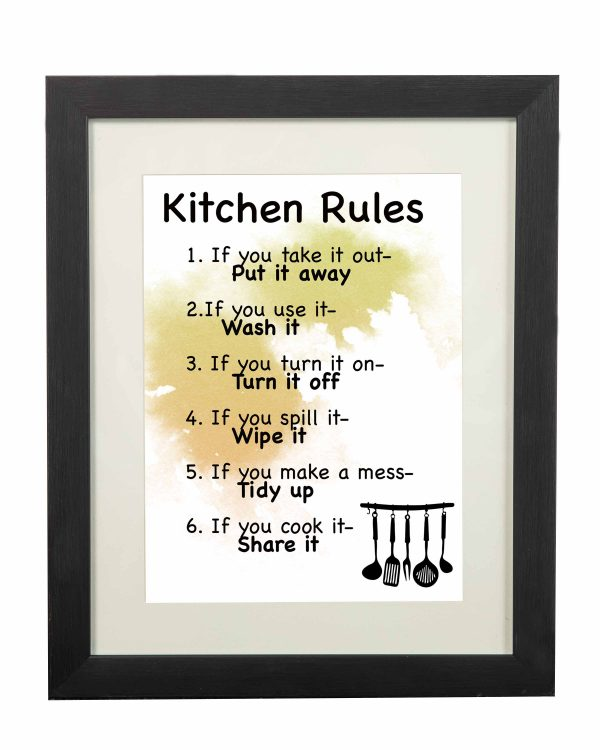 Kitchen Rules Wall Print - Kitchen Rules Black frame