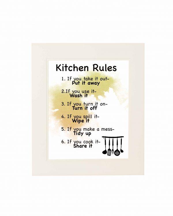 Kitchen Rules Wall Print - Kitchen Rules White mount