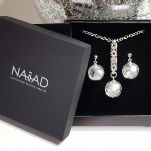 Handmade Sterling silver Byzantine chainmail and silver foil Murano glass necklace and earrings gift set