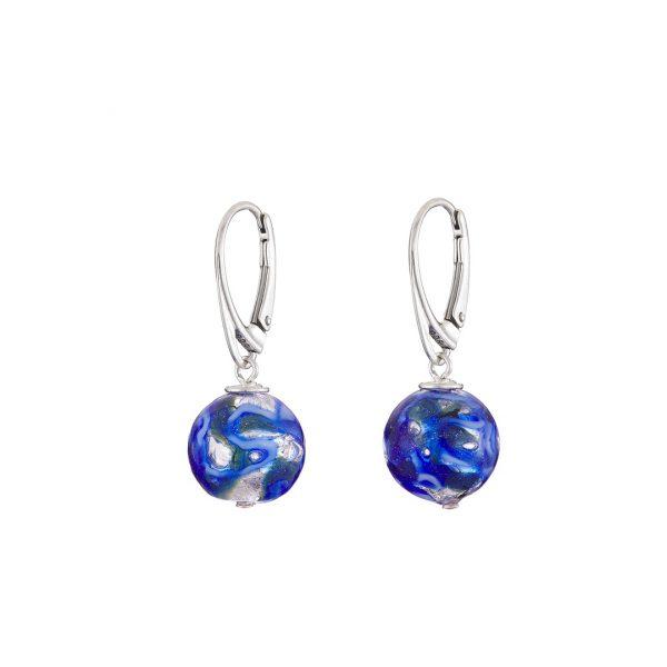 Handmade silver foil round Murano Glass & Sterling Silver Earrings