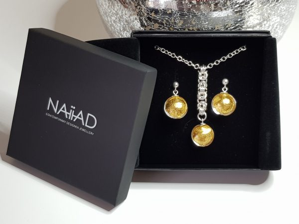 Handmade Sterling silver Byzantine chainmail and 24k gold foil Murano glass necklace and earrings gift set