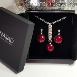Handmade Sterling silver Byzantine chainmail and red Murano glass necklace and earrings gift set