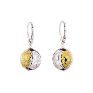 Handmade gold/silver foil Lentil Murano Glass & Sterling Silver Earrings