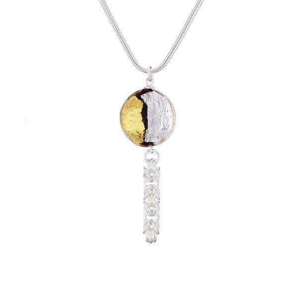Handmade designer Sterling silver Byzantine chainmail gold & silver foil Murano glass necklace