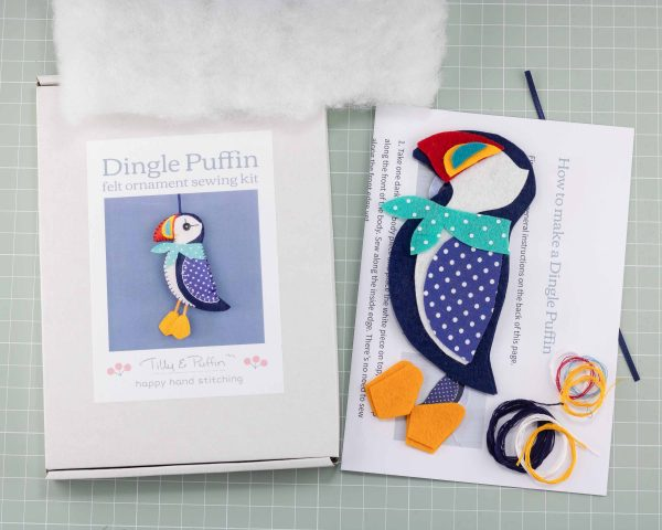 Dingle Puffin Felt Ornament Sewing Kit - Puffin kit contents