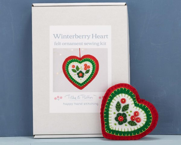 Felt Heart Ornament Sewing Kit - Winterberry Heart kit