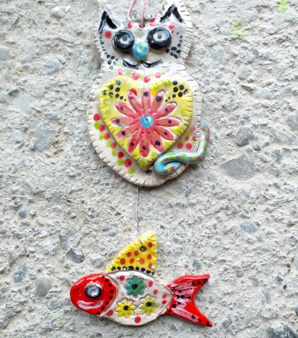 Cat and Fish Ceramic Wall Hanging Ornament