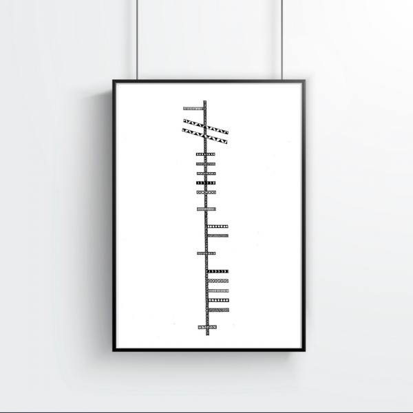 Personalised Ogham / Celtic Writing Print - create your own map 20