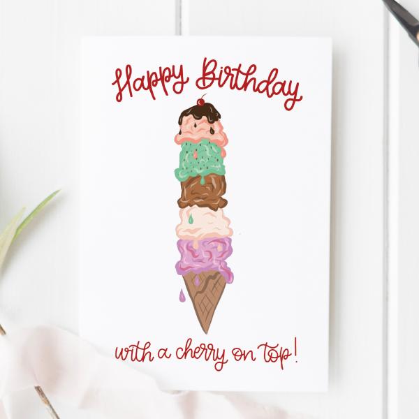 Ice Cream Cone Birthday Card - ice cream birthday 2