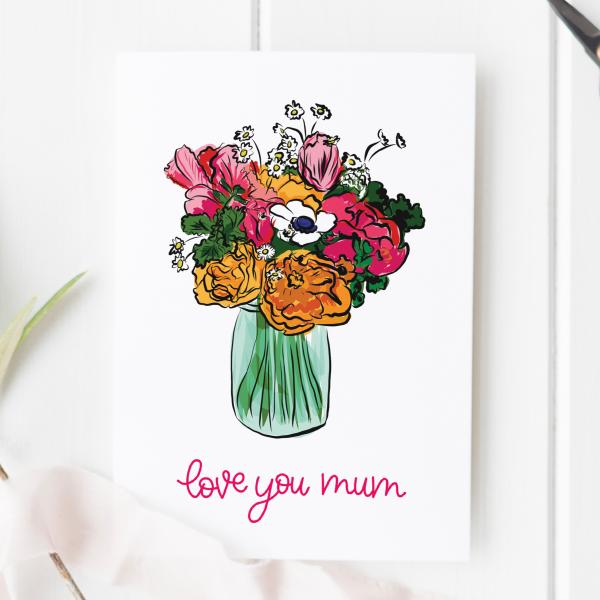 Love You Mum Floral Card