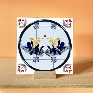 Lovebirds Art Tile