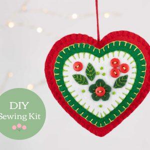 Felt Heart Ornament Sewing Kit