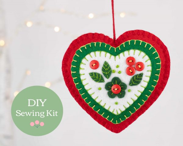 Felt Heart Ornament Sewing Kit