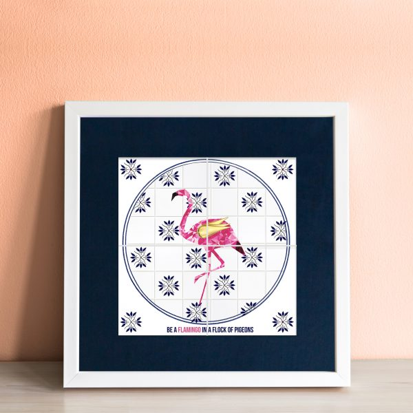 Flamingo in a Flock of Pigeons Art Tile - workingdocument flamingoinaflockofpigeons