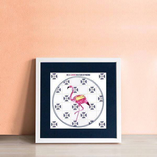 Flamingo in a Flock of Pigeons Art Tile - workingdocument singleframed flamingoinaflockofpigeons