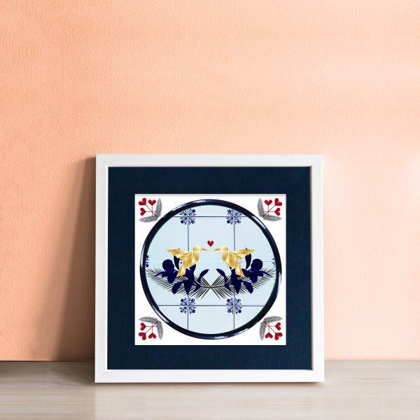 Lovebirds Art Tile - workingdocument singleframed lovebirds
