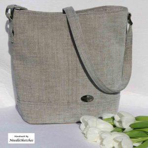 Blue/Grey Fabric Bucket Bag