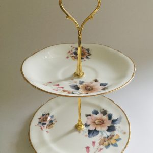 Cake Stand - 2 Tier Autumnal Irish Arklow Fine Bone China