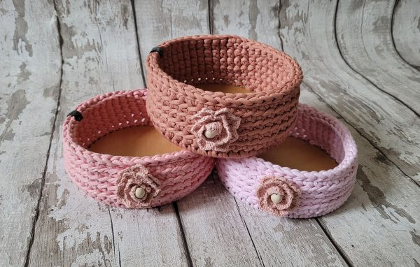 Sturdy Crochet Baskets with Wooden Base