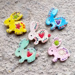 Ceramic rabbit shaped fridge magnets